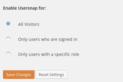 Usersnap settings